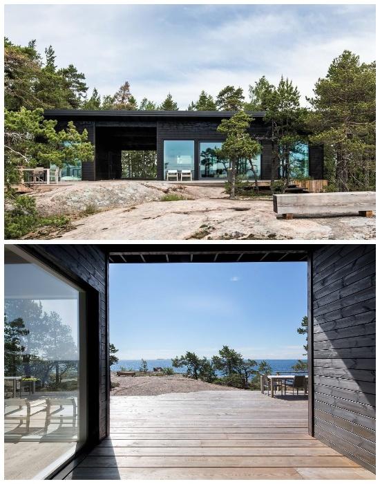 Уединенный дом Isokari состоит из двух помещений, с расположенной между ними террасой.