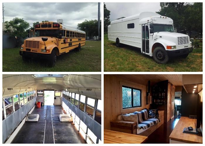 Списанный школьный автобус превратился в роскошный крошечный домик на колесах.