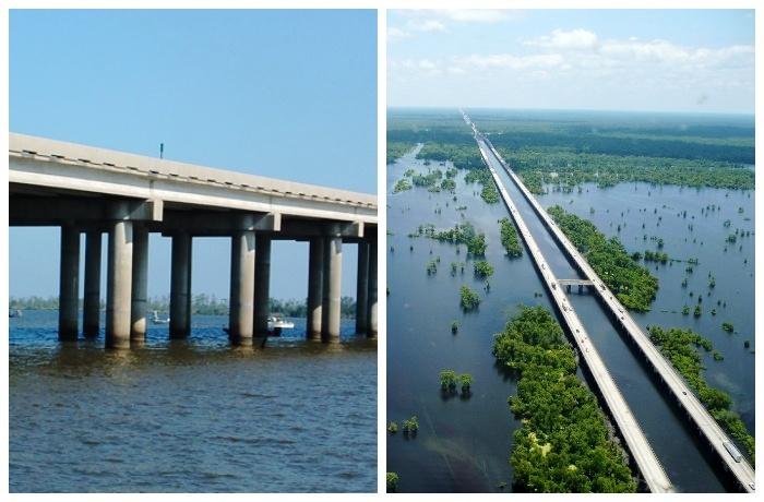 Мэнчек Свамп (Manchac Swamp bridge) – самый длинный мост в США.