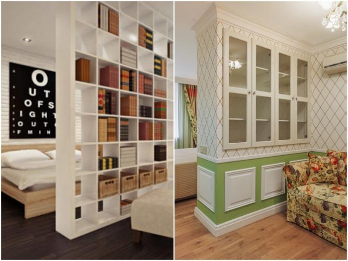 Узкую длинную комнату можно разделить с помощью стеллажей/сервантов.   Фото: kvartira.mirtesen.ru / classicmebel21.ru.