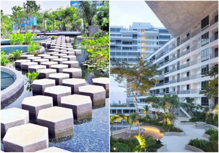 Прогулка по двору и даже крышам уникального комплекса имитирует деревенский ландшафт («Interlace», Сингапур). | Фото: worldlandscapearchitect.com.