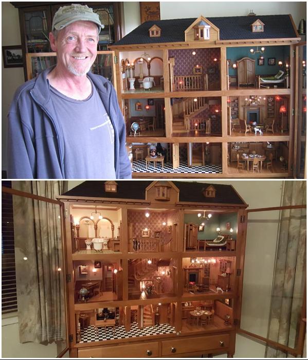 Талантливому краснодеревщику понадобилось чуть больше года, чтобы построить миниатюрный особняк (работа Henk Verhoeff). | Фото: stuff.co.nz.