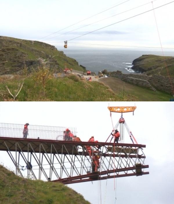 Рельеф местности усложнял задачу мостостроителям (Cornwall, Великобритания). | Фото: itv.com/ ITV News West Country.