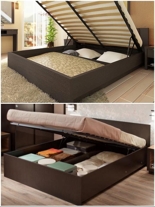 В кровати с подъемным механизмом можно хранить и постельные принадлежности, и сезонные вещи.   Фото: forum.sdelaimebel.ru/ berloga-mebel.ru.