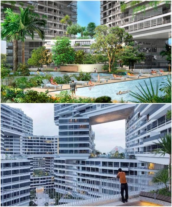 И для любителей многолюдной компании и для отдыха в одиночестве созданы комфортные условия (ЖК «Interlace», Сингапур). | Фото: hairstylescuts.us.