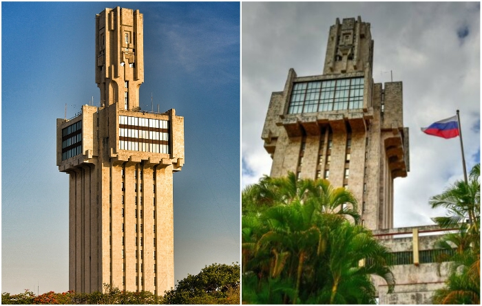 Кто в очертаниях здания посольства видит очертания меча, а кто – инопланетного робота-монстра (Посольство России, Гавана). | Фото: de.sputniknews.com/ wikimapia.org.