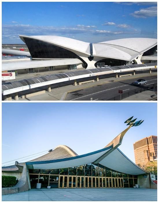 Терминал Trans World Airlines в Нью-Йорке и хоккейный каток для Йельского университета в Нью-Хейвен (работы Ээро Сааринена). | Фото: elledecoration.ru.