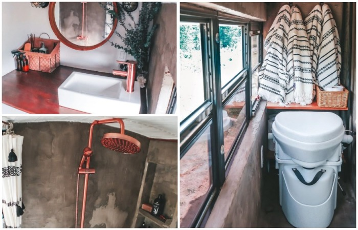 Вот такая ванная комната получилась в автобусе (Oliver). | Фото: instagram.com/ sincewewokeup.
