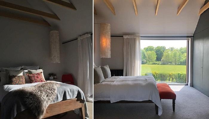 Скромное наполнение спальни супругов компенсируется фантастическими светильниками и утонченностью оформления. © Michaela | The old piggery.