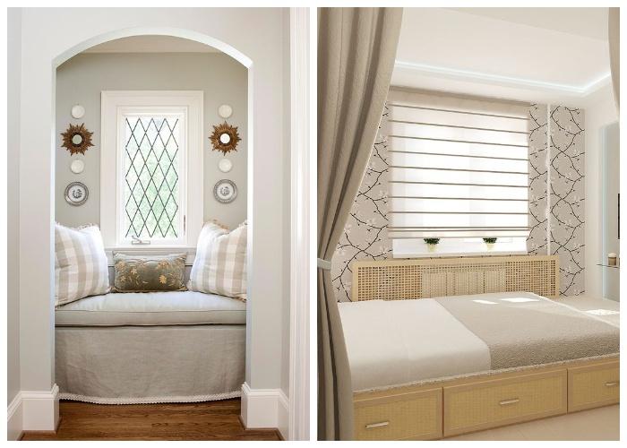 При установке кровати в нише у окна нужно решить вопрос со сквозняками.