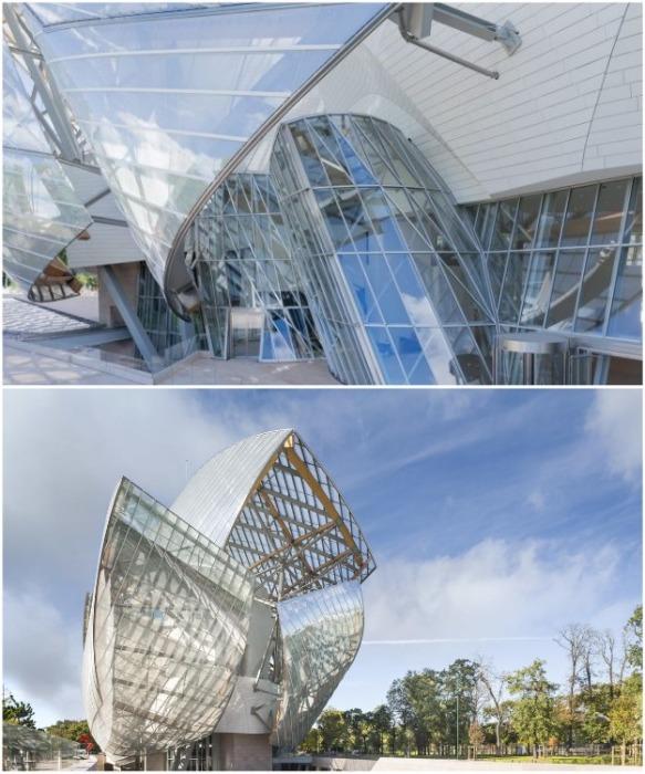 С помощью компьютерных технологий были рассчитаны каждая деталь конструкции, чтобы создать идеально плавные и закругленные линии (Fondation Louis Vuitton). | Фото: frenchparis.ru.