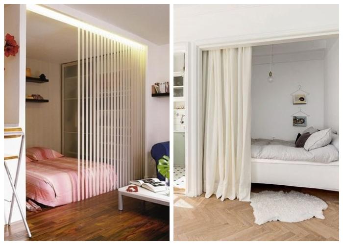 Для создания более интимной обстановки в спальной зоне можно установить раздвижную систему или повесить плотные портьеры.