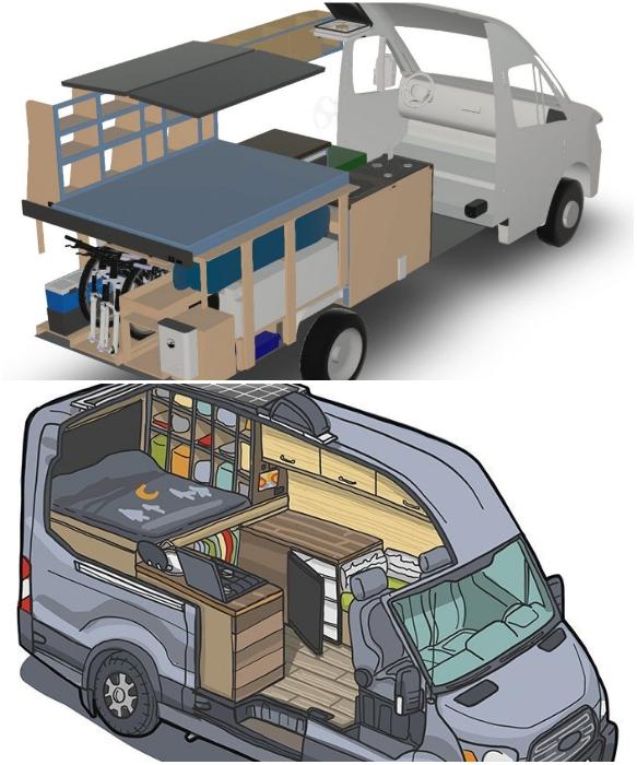 Благодаря инженерному образованию удалось составить проект переоборудования автомобиля Ford Transit без чьей либо помощи. | Фото: bigpicture.ru/ instagram.com faroutride.