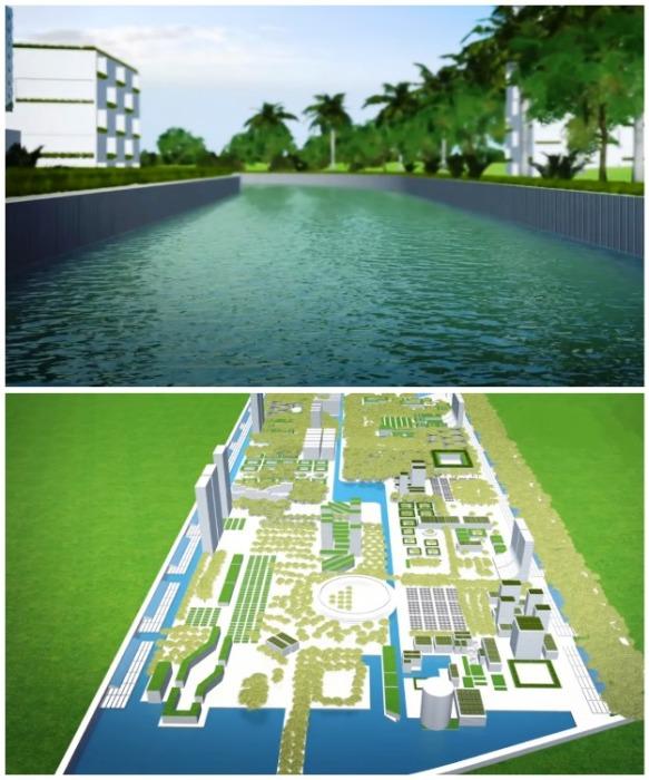 Для обеспечения города водой проведут канал от Карибского моря и будут опреснять, и перерабатывать воду (визуализация Smart Forest City, Мексика). | Фото: stefanoboeriarchitetti.net.