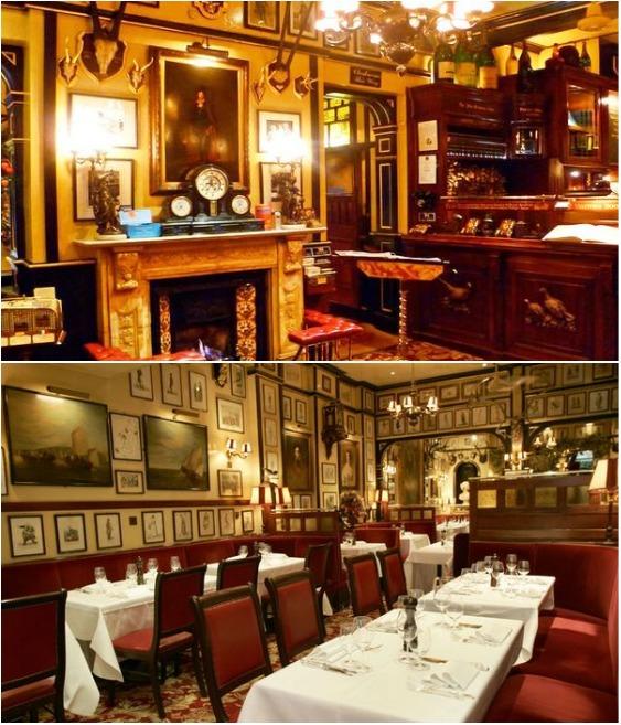 Интерьер ресторана напоминает классическое английское поместье викторианской эпохи (Rules Restaurant, Лондон).   Фото: new.go-uk.com.ua