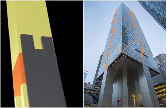 Особая конструкция стропил позволяет удерживать здание даже при внутреннем расположении опор, без задействования его углов (Сiticorp Center, Манхэттен).