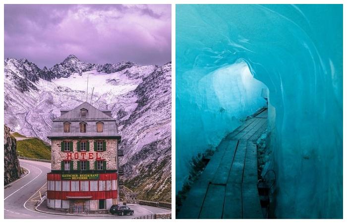 Старинный горный отель Belvedere расположен неподалеку от ледяного грота (Альпы, Швейцария).