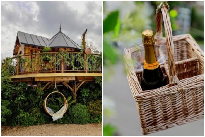 Плетеные качели и корзинка для продуктов украшают фасад домика на дереве. | Фото: tiredbee.com.