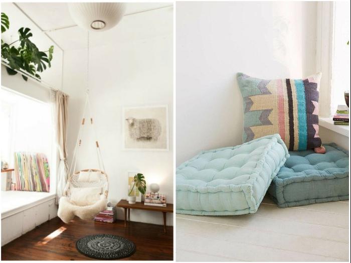Подвесное кресло или мягкие напольные подушки помогут организовать уютный уголок для отдыха. | Фото: ratatum.com/ miodimore.ru.