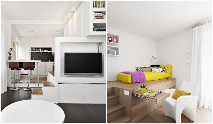 Каждый сам определяет как разбавить белый цвет: яркими или более строгими контрастными нотами. | Фото: yellowhome.ru/ kvartirastudio.ru.