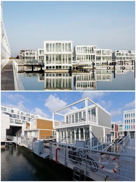В Амстердаме уже два десятилетия существует целый квартал из плавающих домов, расположенный в районе Ijburg. | Фото: auto.mail.ru.