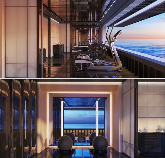 На нижней палубе организован спортзал с огромными панорамными окнами, открывающими прекрасный обзор (концепт «AQUA»). | Фото: breakingnews.ws./ sinot.com, © Sinot Yacht.