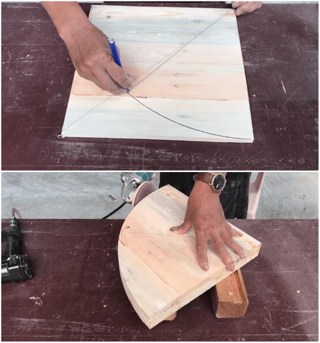 Процессу создания радиусного угла и шлифованию торцов полки следует уделить особое внимание. | Фото: youtube.com/ © Woodworking Tools.