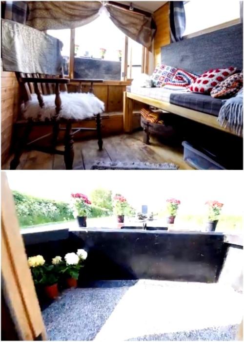 С гостиной есть выход на открытую палубу, где расположили зону отдыха и цветы. | Фото: myseldon.com.