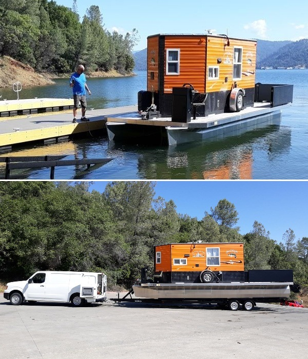 Изобретательный американец построил передвижное жилье, с которым можно путешествовать и по суше и по морю (Heidi-Ho). | Фото: houseboatmagazine.com.
