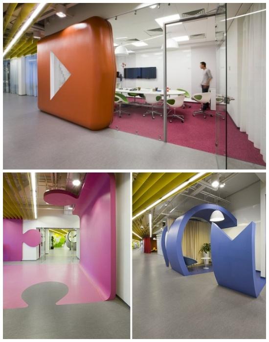 Жизнерадостный интерьер офиса для интернет-компании «Яндекс» в Санкт-Петербурге (Россия).