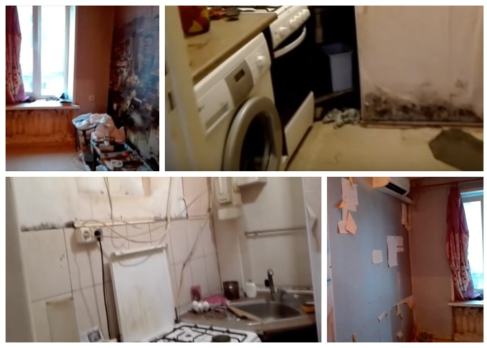 В таком удручающем состоянии была маленькая квартира площадью 13 кв. метров. | Фото: youtube.com.