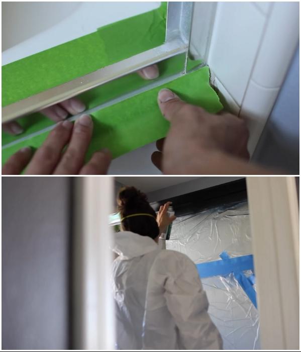 Перед покраской нужно подготовить не только окрашиваемые детали, но и закрыть пленкой стыки и стекло. | Фото: youtube.com/ © Living to DIY with Rachel Metz.