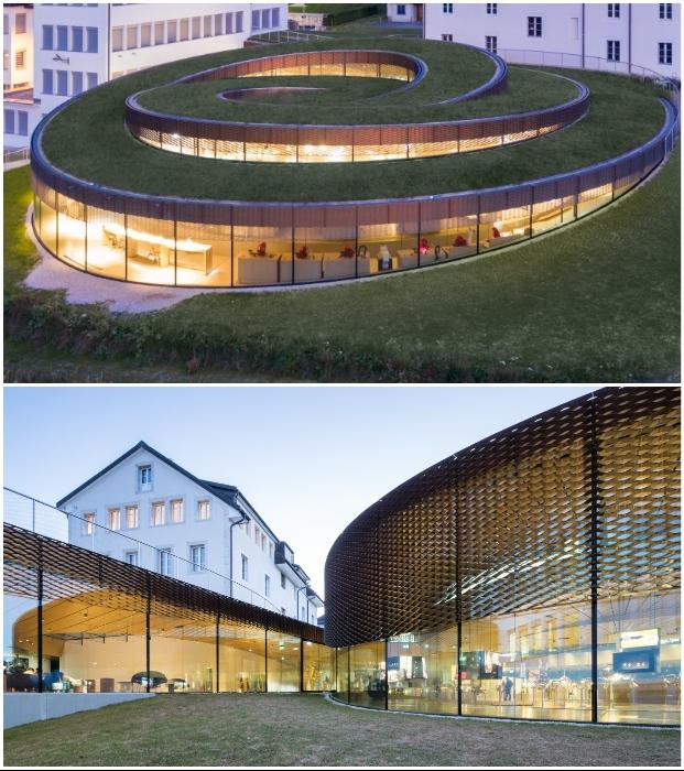 Спиралевидный музей-мастерская от Bjarke Ingels Group идеально вписывается в ландшафт (Ле-Брасю, Швейцария).