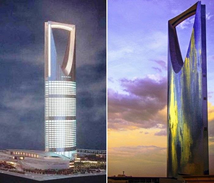 На строительство фасада небоскреба Kingdom Center было потрачено 186 тыс. кв.м. зеркального стекла (Эр-Рияд, Саудовская Аравия). | Фото: istas.20minutos.es.