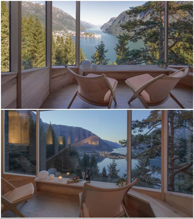 Из гостиной открывается захватывающий вид на норвежский фьорд Хардангер и горы (Одда, Woodnest). © Sindre Ellingsen.