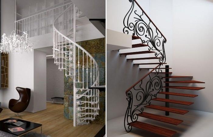 Изысканные линии лестниц в стиле модерн задают тон всему дизайну интерьера. | Фото: luckydecor.ru.