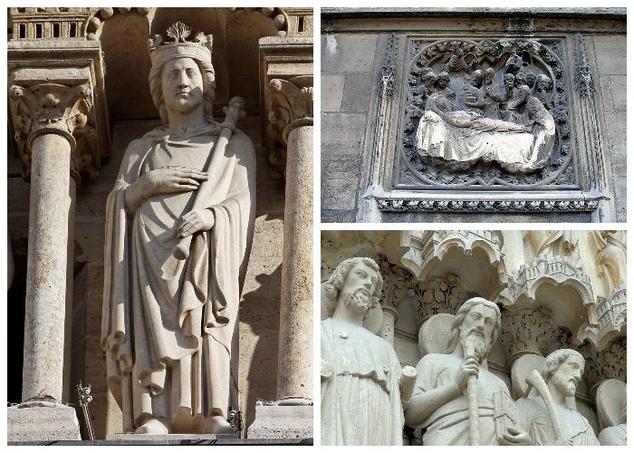 Огромное количество барельефов и скульптур украшают фасад Notre-Dame Cathedral (Франция)