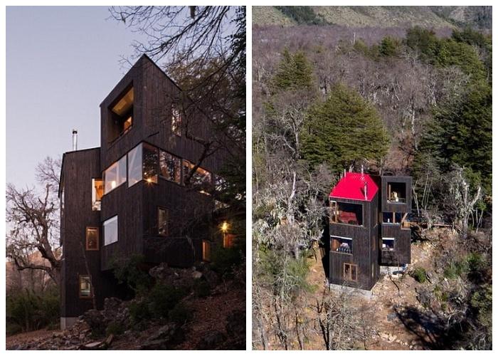 Горная хижина La Dacha гармонично вписалась в горный ландшафт (Чили).