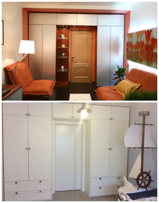 Шкафы вокруг дверного проема помогут исправить неудачную геометрию комнаты и спрятать массу вещей. | Фото: stroy-podskazka.ru.