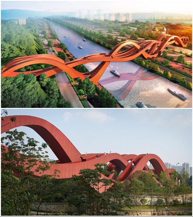 Пешеходный мост Changsha Lucky Knot признан «Самым впечатляющим мостом» по версии CNN (Чанша, Китай).