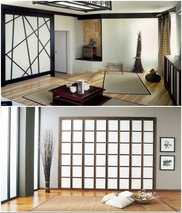 Современные шкафы замаскировали так, что сразу и не определишь, есть ли мебель в японском доме. | Фото: mebelvbloge.ru/ ideal32.ru.