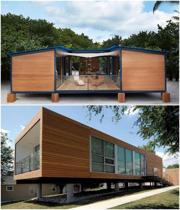 Чтобы уменьшить негативное влияние на окружающую среду дом из контейнеров можно поместить на опоры или сваи. | Фото: booking.com/ cpykami.ru.