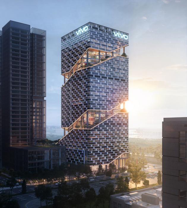 Началось строительство новой штаб-квартиры для крупнейшей в мире компании по производству смартфонов Vivo Communication Technology Co. Ltd (концепт NBBJ). | Фото: archdaily.com.