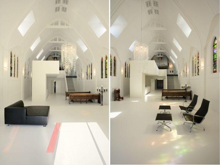 Старинные церковные лавки идеально вписались в интерьер гостиной-столовой (Utrecht, Нидерланды). | Фото: homedit.com.