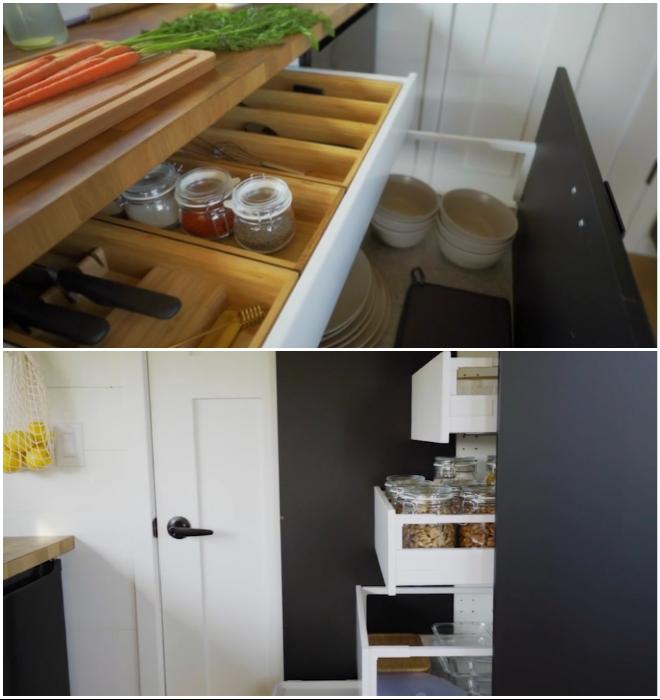Выдвижные ящики позволяют более рационально использовать внутреннее пространство тумб и шкафов (Ikea Tiny Home).
