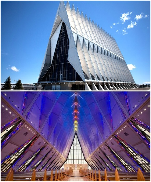 Кадетская часовня на территории Академии ВВС США  в Колорадо-Спрингс (United States Air Force Academy Cadet Chapel). | Фото: visitcos.com.