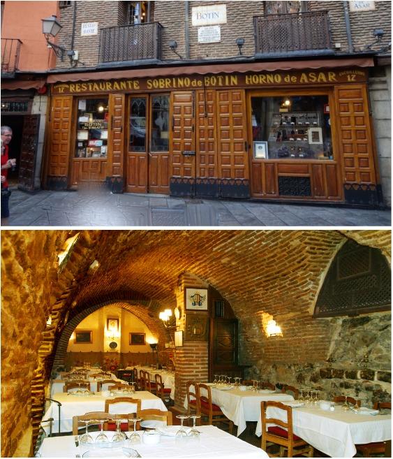 Традиционное испанское крошечное пространство ресторана Sobrino de Botín в Мадриде (Испания).   Фото: planetofhotels.com.