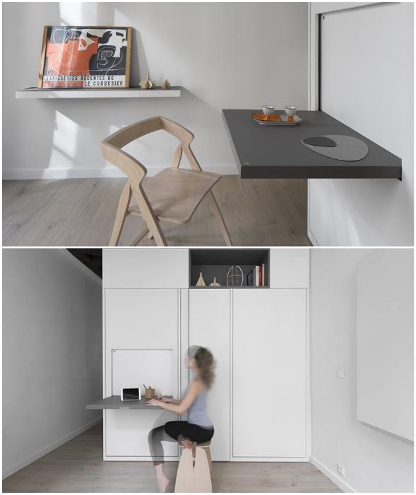 Откидной стол на модуле выполняет роль обеденной зоны.