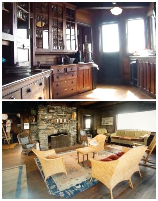 Интерьер особняка после полной реставрации (Clingstone House, залив Наррагансетт).