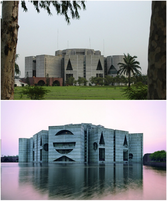 Одна часть комплекса находится на территории парковой зоны, а три – в воде. | Фото: coisasdaarquitetura.files.wordpress.com.